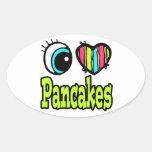 Bright Eye Heart I Love Pancakes Oval Sticker