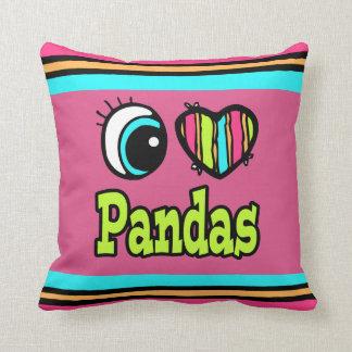 Bright Eye Heart I Love Pandas Throw Pillow