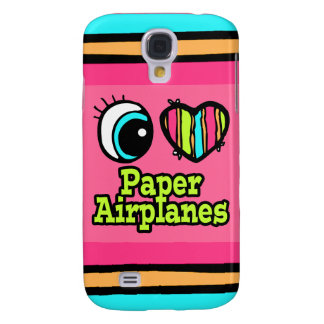Bright Eye Heart I Love Paper Airplanes Galaxy S4 Cover