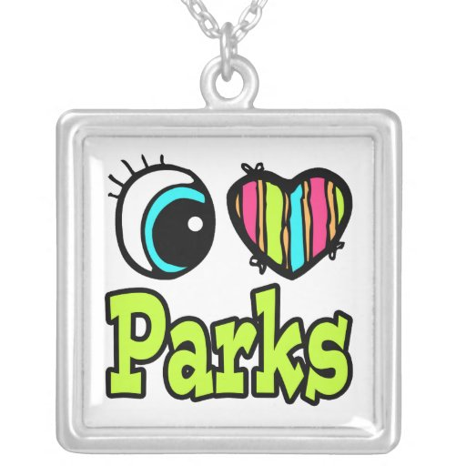 Bright Eye Heart I Love Parks Square Pendant Necklace