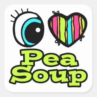 Bright Eye Heart I Love Pea Soup Square Stickers