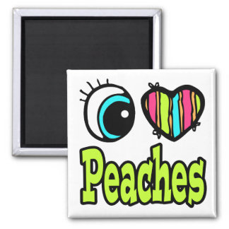 Bright Eye Heart I Love Peaches 2 Inch Square Magnet