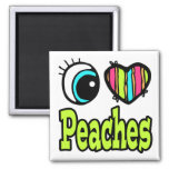 Bright Eye Heart I Love Peaches 2 Inch Square Magnet