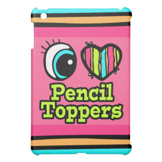 Bright Eye Heart I Love Pencil Toppers iPad Mini Cases