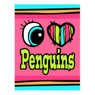 Bright Eye Heart I Love Penguins Postcard