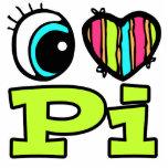 Bright Eye Heart I Love Pi Acrylic Cut Outs
