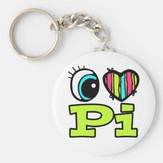 Bright Eye Heart I Love Pi Basic Round Button Keychain