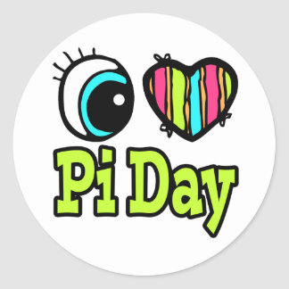 Bright Eye Heart I Love Pi Day Classic Round Sticker