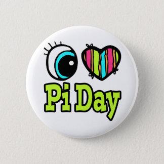 Bright Eye Heart I Love Pi Day Pinback Button