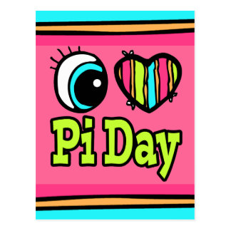 Bright Eye Heart I Love Pi Day Postcard