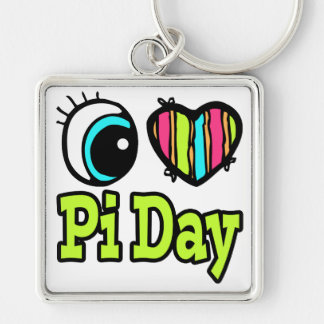 Bright Eye Heart I Love Pi Day Silver-Colored Square Keychain