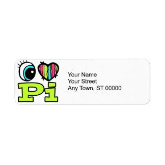Bright Eye Heart I Love Pi Custom Return Address Labels