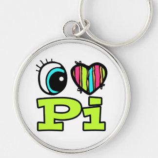 Bright Eye Heart I Love Pi Silver-Colored Round Keychain