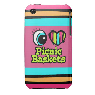 Bright Eye Heart I Love Picnic Baskets iPhone 3 Cases