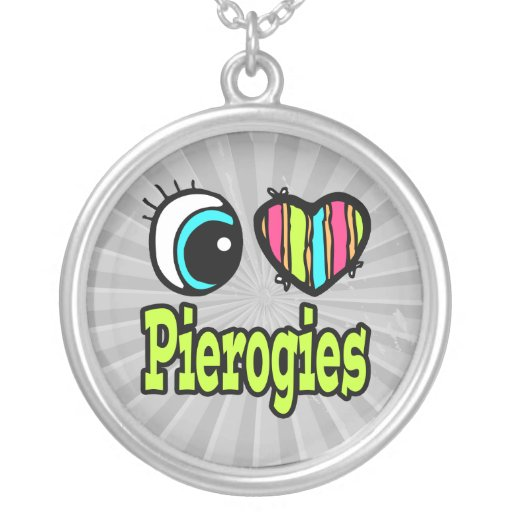 Bright Eye Heart I Love Pierogies Necklaces