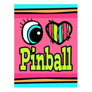 Bright Eye Heart I Love Pinball Postcard