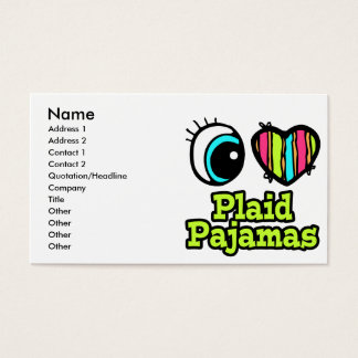Bright Eye Heart I Love Plaid Pajamas Business Card