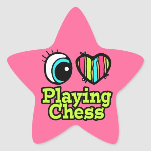 Bright Eye Heart I Love Playing Chess Star Sticker