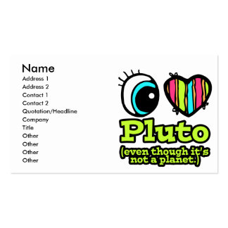 Bright Eye Heart I Love Pluto Double-Sided Standard Business Cards (Pack Of 100)