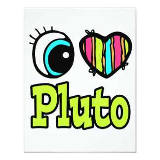 Bright Eye Heart I Love Pluto Personalized Announcements