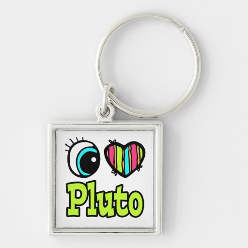 Bright Eye Heart I Love Pluto Keychain