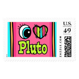 Bright Eye Heart I Love Pluto Postage Stamp
