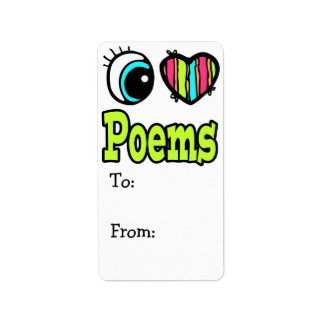 Bright Eye Heart I Love Poems Personalized Address Label