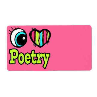 Bright Eye Heart I Love Poetry Shipping Labels