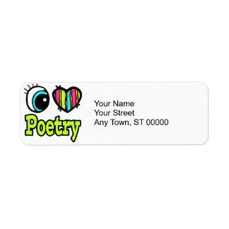 Bright Eye Heart I Love Poetry Return Address Label