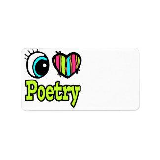 Bright Eye Heart I Love Poetry Address Label