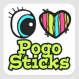 Bright Eye Heart I Love Pogo Sticks Square Stickers