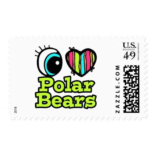 Bright Eye Heart I Love Polar Bears Postage Stamp