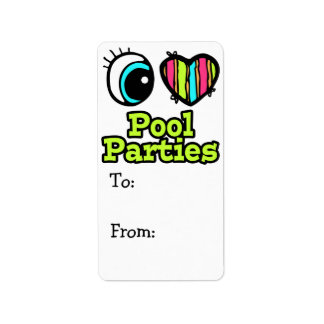 Bright Eye Heart I Love Pool Parties Label