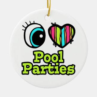 Bright Eye Heart I Love Pool Parties Christmas Tree Ornaments
