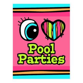 Bright Eye Heart I Love Pool Parties Postcard
