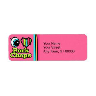 Bright Eye Heart I Love Pork Chops Custom Return Address Label