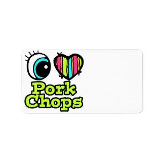Bright Eye Heart I Love Pork Chops Custom Address Labels