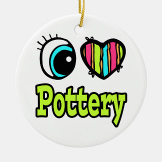 Bright Eye Heart I Love Pottery Double-Sided Ceramic Round Christmas Ornament
