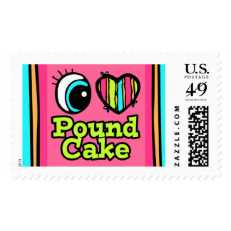 Bright Eye Heart I Love Pound Cake Postage Stamps