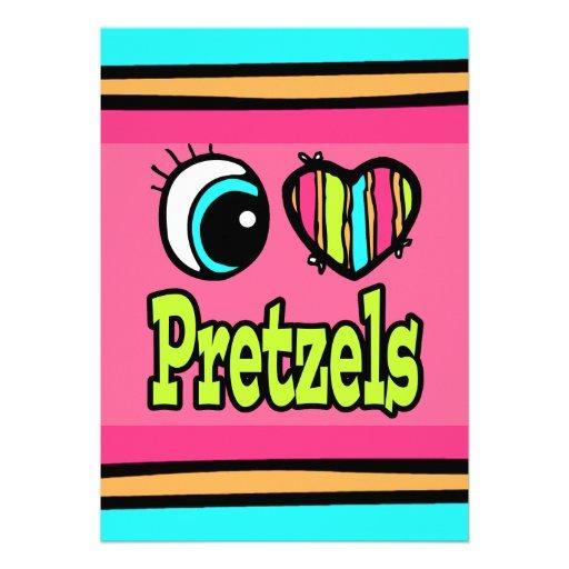 Bright Eye Heart I Love Pretzels Custom Invites