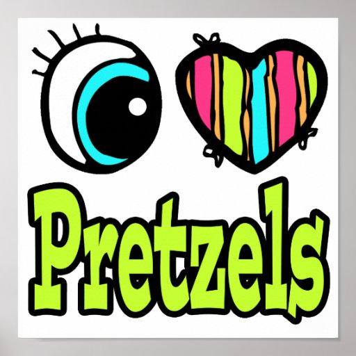 Bright Eye Heart I Love Pretzels Print