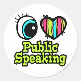 Bright Eye Heart I Love Public Speaking Classic Round Sticker