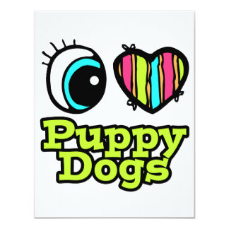 Bright Eye Heart I Love Puppy Dogs Personalized Invitations