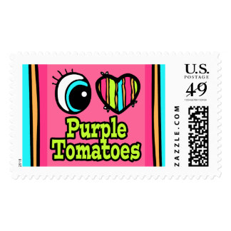 Bright Eye Heart I Love Purple Tomatoes Postage Stamp