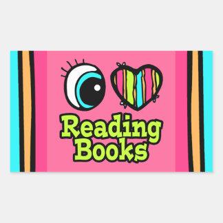 Bright Eye Heart I Love Reading Books Rectangular Sticker