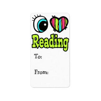Bright Eye Heart I Love Reading Label