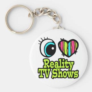Bright Eye Heart I Love Reality TV Shows Basic Round Button Keychain
