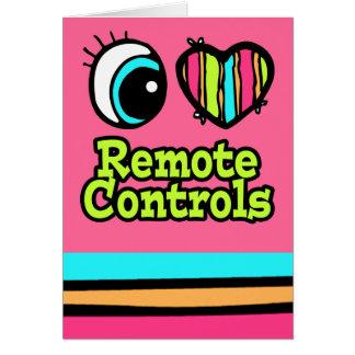 Bright Eye Heart I Love Remote Controls Greeting Card