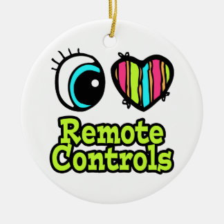 Bright Eye Heart I Love Remote Controls Double-Sided Ceramic Round Christmas Ornament