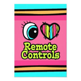Bright Eye Heart I Love Remote Controls 5x7 Paper Invitation Card